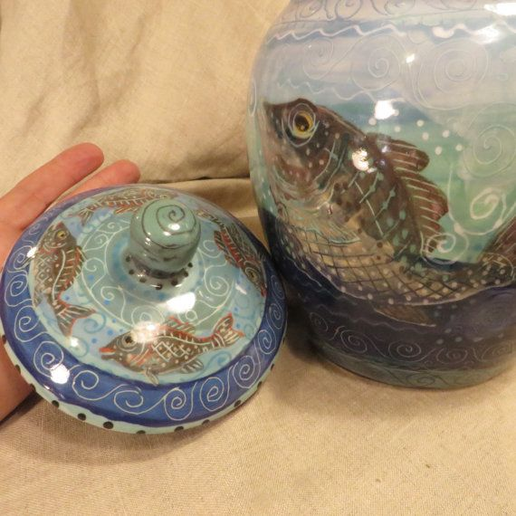 Beautiful Jumping Fish Cookie Jar by pamdesign on Etsy
