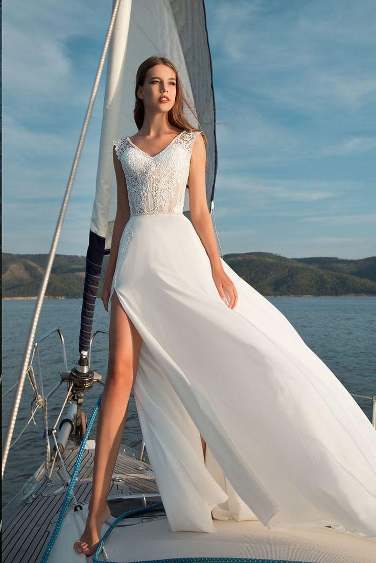 Verngo Boho Beach Wedding Dress Classic V-Neck Bride Dress Side Slit Summer Holiday Long Chiffon Robe Mariage