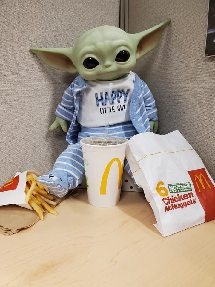 Baby Yoda Eat Food In Mcdonalds In 2021 Star Wars Baby Yoda Funny Yoda Meme