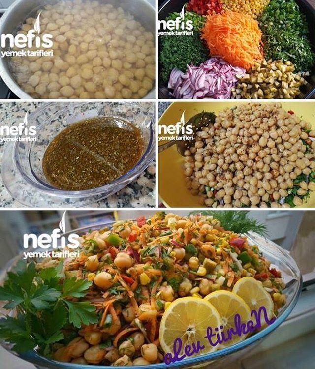 """9,647 Beğenme, 92 Yorum - Instagram'da Nefis Yemek Tarifleri (@nefisyemektarifleri): """"Bereketli Bol Malzemeli Nohut Salatası (Gün Salatası) Tarifi 😘💕 tarif sahibi sevgili @alewturken34…"""""""