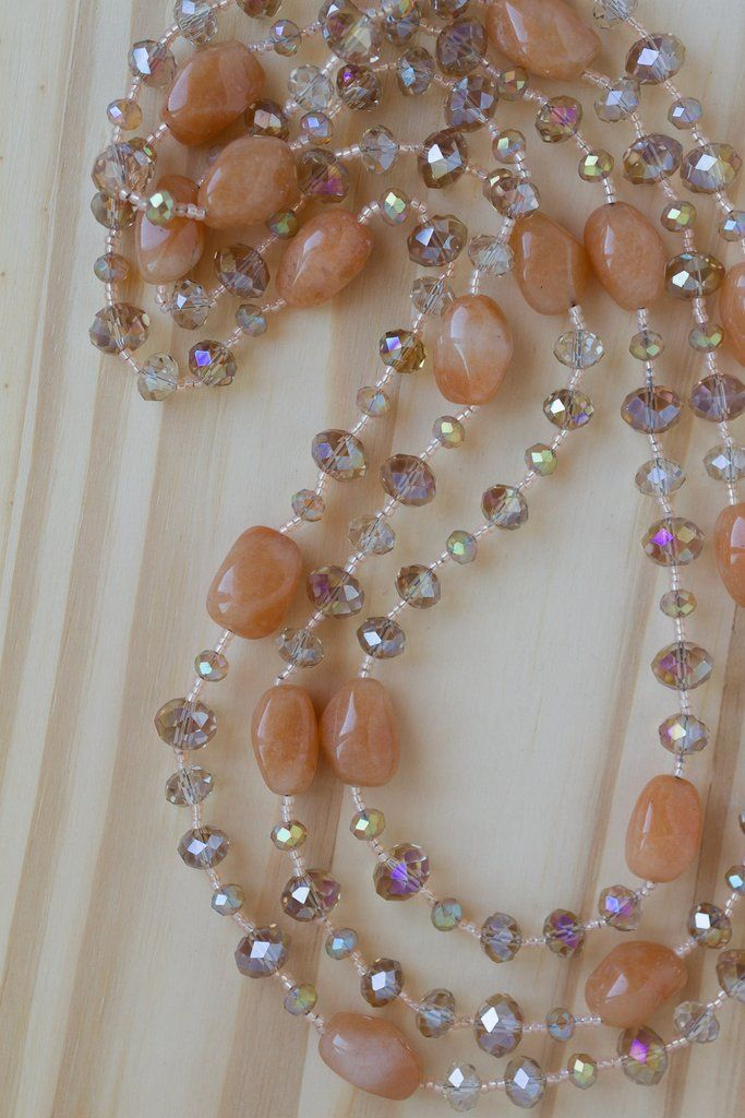 60″ Extra Long Red Aventurine Nugget Beaded Necklace with Crystal Beads