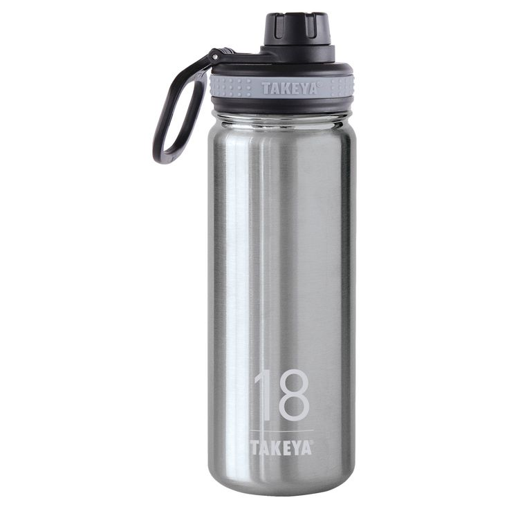 Takeya Thermoflask 18oz Insulated Stainless Steel (Silver) Water Bottle - Stainless Steel