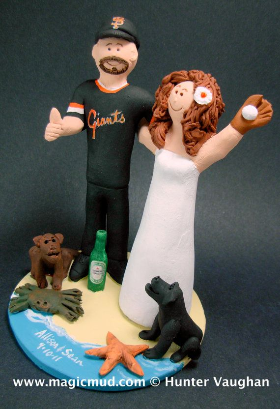 San Fransisco Giants Baseball Fans Wedding Cake Topper    Wedding Cake Topper for MLB Baseball Fans, custom created for you!    $235   #magicmud   1 800 231 9814   www.magicmud.com