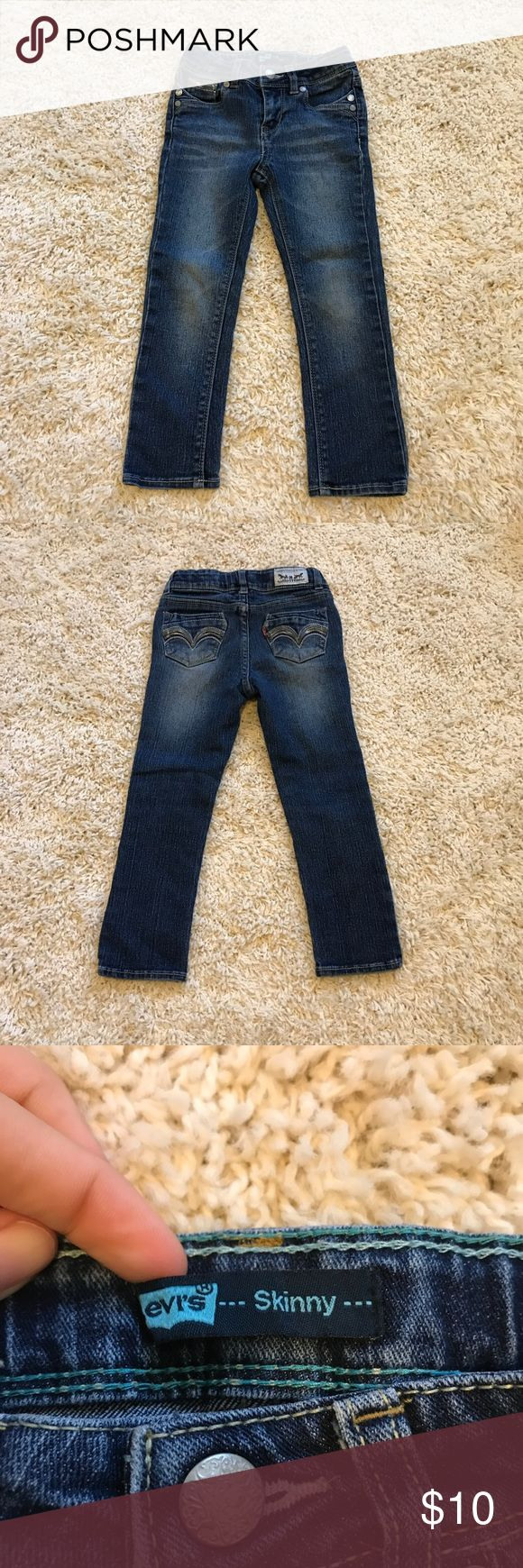 Levi's skinny Jeans Great condition! No holes or stains  Gray detail design on pockets  Adjustable waist 55% ramie 24% cotton 20% polyester  1% spandex Machine wash Levi's Bottoms Jeans