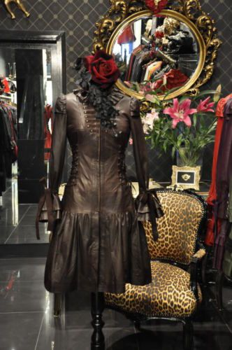 Donna-BELLA-Brown-in-pelle-Steampunk-cappotto-abito-corsetto-Burlesque-Antico
