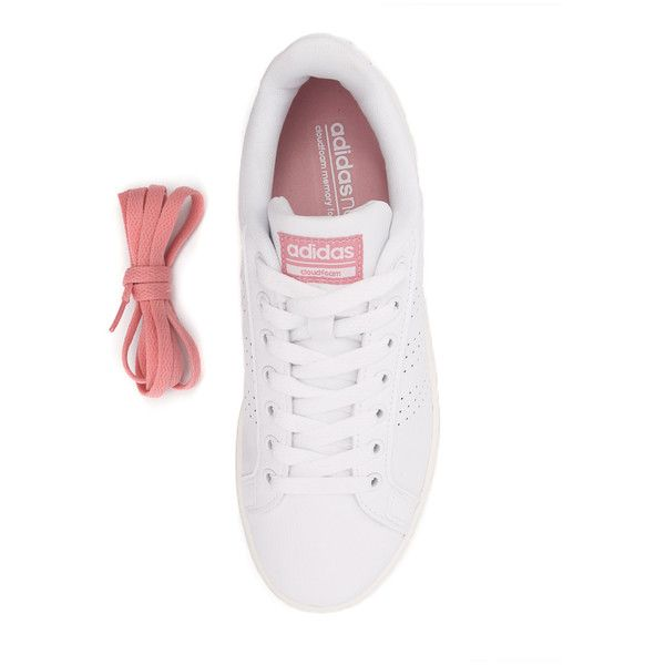 Adidas Neo Cloudfoam Advantage Clean White/White/Pink ($68) ❤ liked on Polyvore featuring shoes, sneakers, lightweight sneakers, lightweight shoes, white trainers, pink sneakers and adidas neo trainers