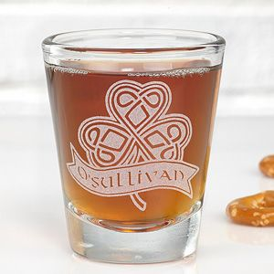 Celebrate your Irish heritage with the Celtic Shamrock Personalized Shot Glass. Find the best personalized Irish & St. Patrick's Day gifts at PersonalizationMall.com