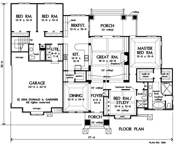 Plan of the week 1 2 story designs master shower for Kitchen plans with butlers pantry