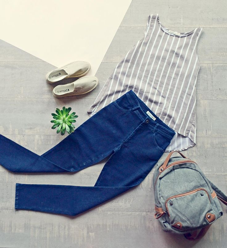 Simple and elegant! Skinny jeans, beige flatforms espadrilles and backpack ;)  Badila flatlays <3 SS16 Collection