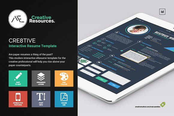 Cre8tive Interactive eResume by Marcus Embra on @creativemarket