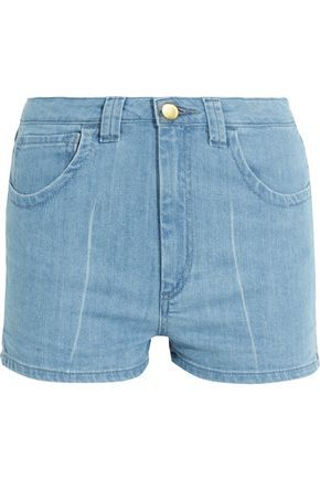 TOPSHOP UNIQUE WOMAN HOLYPORT DENIM SHORTS LIGHT DENIM. #topshopunique #cloth #