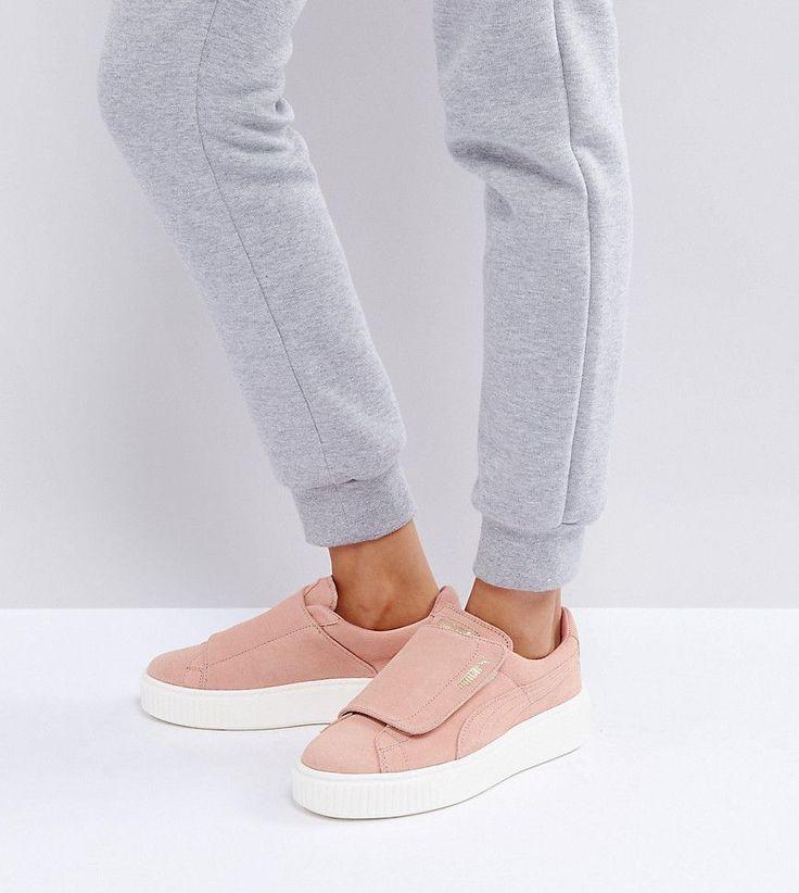 Puma Suede Strap Platform Sneakers In Pink - Pink