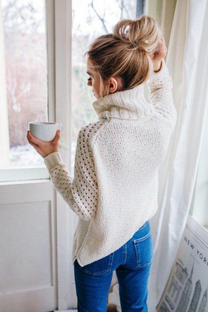 une tenue décontractée pendant la journée avec ce pull col roulé femme et le jean