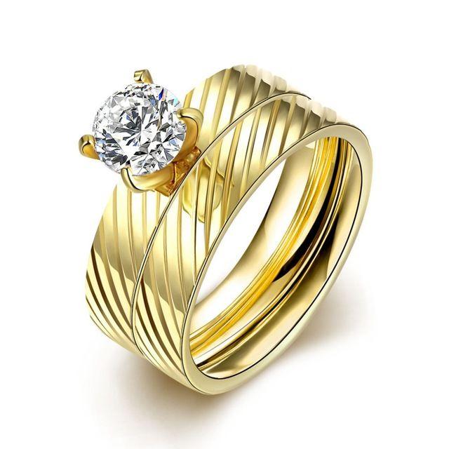 Мода 18 К позолоченные кольца Стали титановые кольца Золото цвет кристалл кольцо США стиль кольцо подарков R052