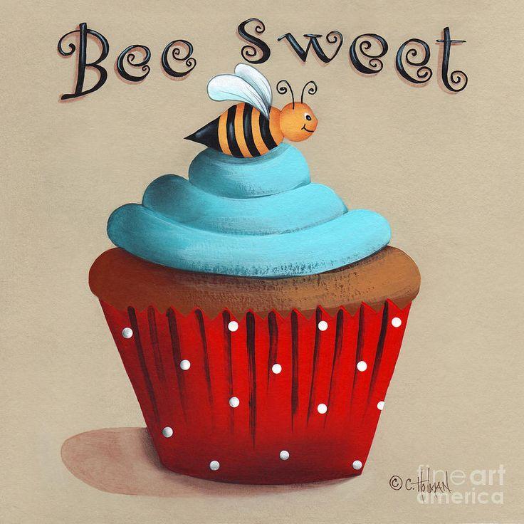 Bee Sweet Cupcake Painting