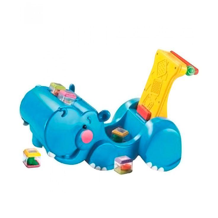 Fisher Price Hipopótamo Andador Traga Bloques; andadera 2-en-1 que le permite al bebé recolectar sus bloques mientras empuja al hipopótamo y pasan sobre ellos. El hipopótamo cobra vida con su cabecita que sube y baja; con cinco bloques temáticos que se ag