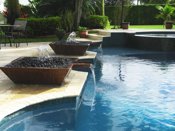 Outdoor swimming pool water fountain design ideas pool for Water feature design