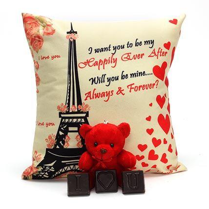 Teddy Bear with Chocolate and Cushion