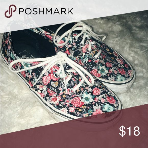 Floral vans and I have only worn them three times. Very pretty floral vans. These shoes go good with simple outfits so you could add them for a pop of color. Vans Shoes Sneakers