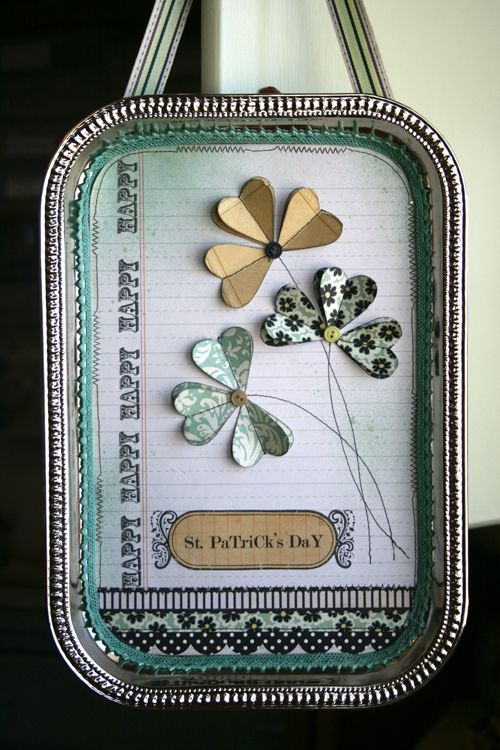 St Patty's Day Craft. Dollar Store Tray, Scrapbook Paper and Folded hearts to make Shamrocks. Add whatever stamps and embellishments you have to decorate. Cute!