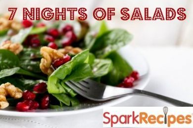 Seven ideas for salads (not all meatless) from Sparkpeople.com!: Healthy Salad Recipes, Thanksgiving Food, Hearty Salads, Yummy Salad, Night, Spinach Salads, Healthy Recipes, Healthy Foods