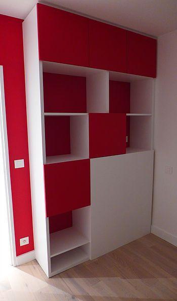 Chambre enfant, meuble sur mesure tête de lit / bibliothèque