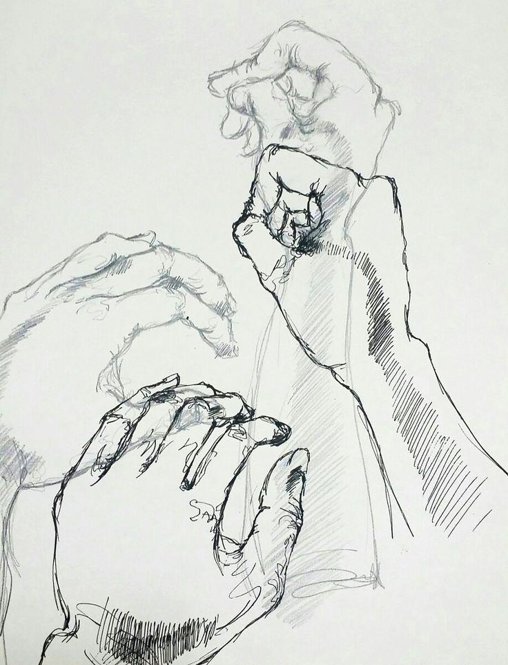 팔이 책상에 닿는 면적을 빗금으로 표현하고 그 위에 얹어질 손의 모습을 상상해서 표현해보고자하였다. 이전과는 다르게 형상적인 모습이 강해졌다.