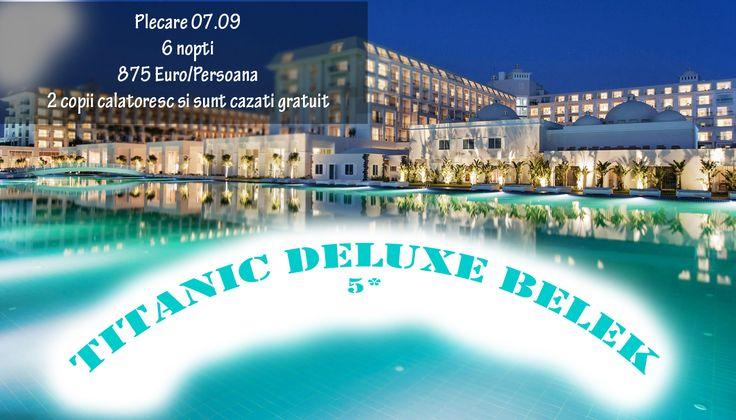 Nu ratati oferta Ultra All Inclusive – Antalya, Turcia Locatie: Titanic Deluxe Belek 5* Plecare: 07.06 Perioada: 6 nopti Pret: 875 Euro/ Persoana *Solicita oferta personalizata!*