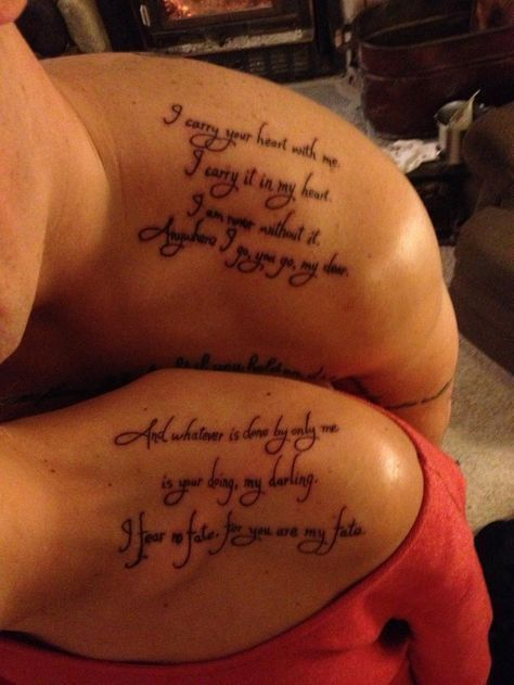 Poem Tattoo For Couples Tattooforcouplesideas CoolTattooForCouples Cool Love Tattoos For Couples Quotes