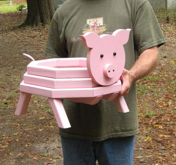 Adorable Pig Planter by LCsWoodtopia on Etsy