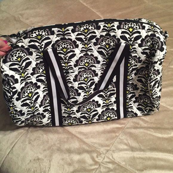 Vera Bradley large duffel bag travel fanfare round New with tags black white yellow Vera Bradley Bags Travel Bags