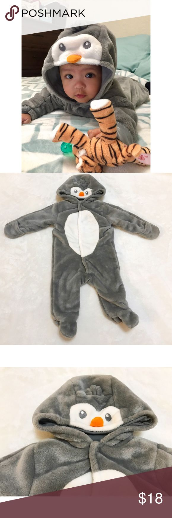 ⭐️ Penguin Onesie Gray penguin onesie with hoodie. In great condition.  PRICE is FIRM unless Bundled. NO Trades Koala Baby One Pieces