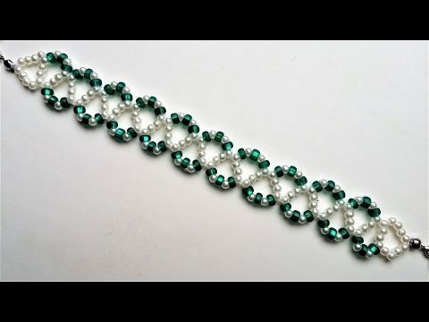 Go Green Bracelet 3. Beading jewelry pattern for beginners - YouTube
