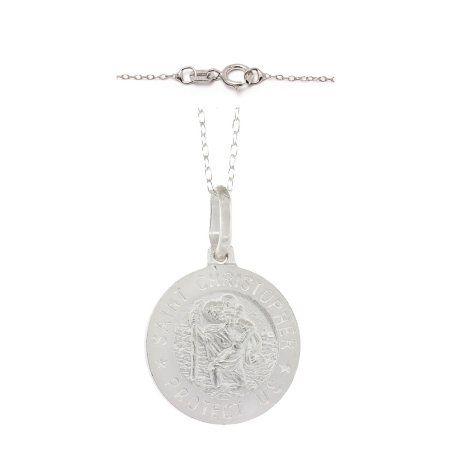 Pori Jewelers Italian Sterling Silver Saint Christopher Medallion Pendant Necklace, Women's