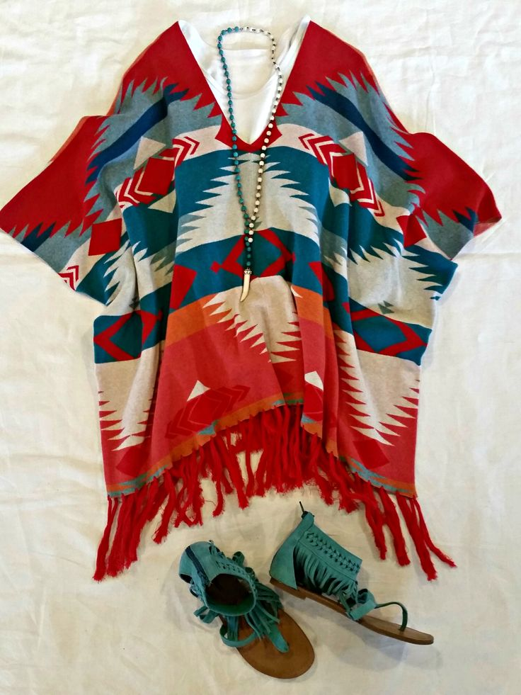 Tasha Polizzi Cooper Poncho red blue tribal blanket print Aztec native American indie boho hippie western cowgirl style clothing outfit Minnetonka fringe sandals turquoise  Get the look http://www.tashapolizzi.com/item_detail.php?id=207