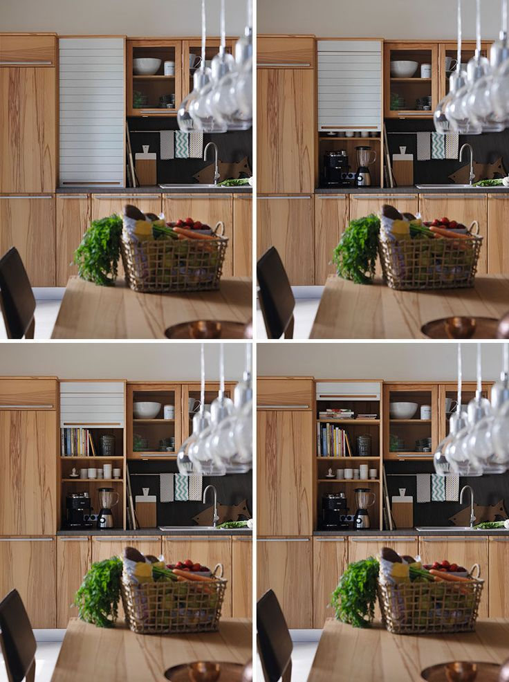 Kitchen Design Idea - Store Your Kitchen Appliances In A Dedicated Appliance Garage // The sliding door of this large appliance garage hides the appliances as well as various recipe books and coffee mugs.