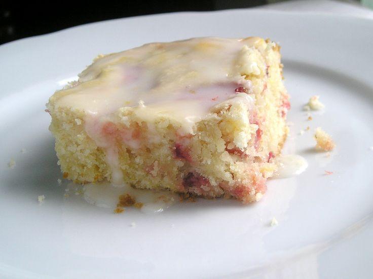 Strawberry Lemon Cake Bars with Lemon Glaze ~ Edesia's Notebook