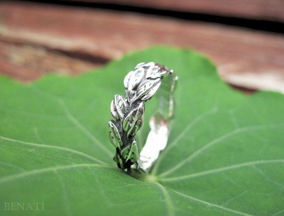 Leaves Wedding Ring In 14k White Gold, Leaf Wedding band, Gold Leaf Friendship Ring, Silver Ring, Forest Ring, Natural Ring, Floral Ring