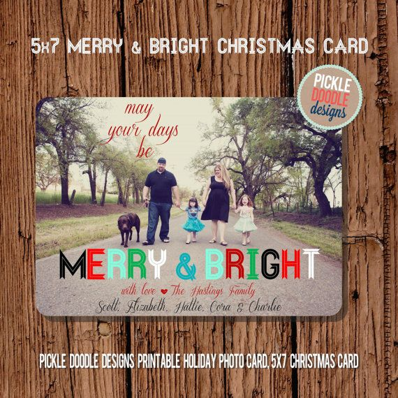 Christmas Card    Merry & Bright Christmas by pickledoodledesigns