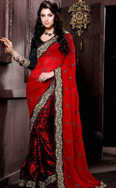 USD 66.36 Red and Black Embroidery Faux Georgette Wedding Saree  29421