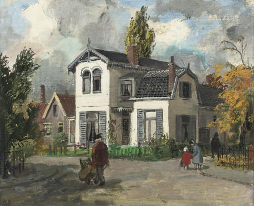 Harm Kamerlingh Onnes (1893-1985), A white house in Oegstgeest, 1954.