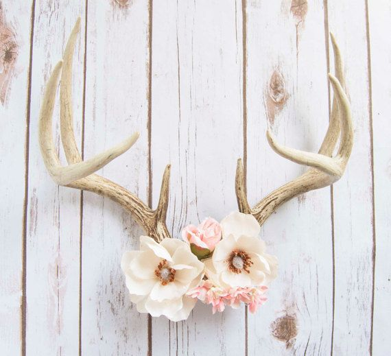 Magnolia - Decorative Floral Deer Antlers - Large Deer Antlers with Silk Magnolias and Pink Roses