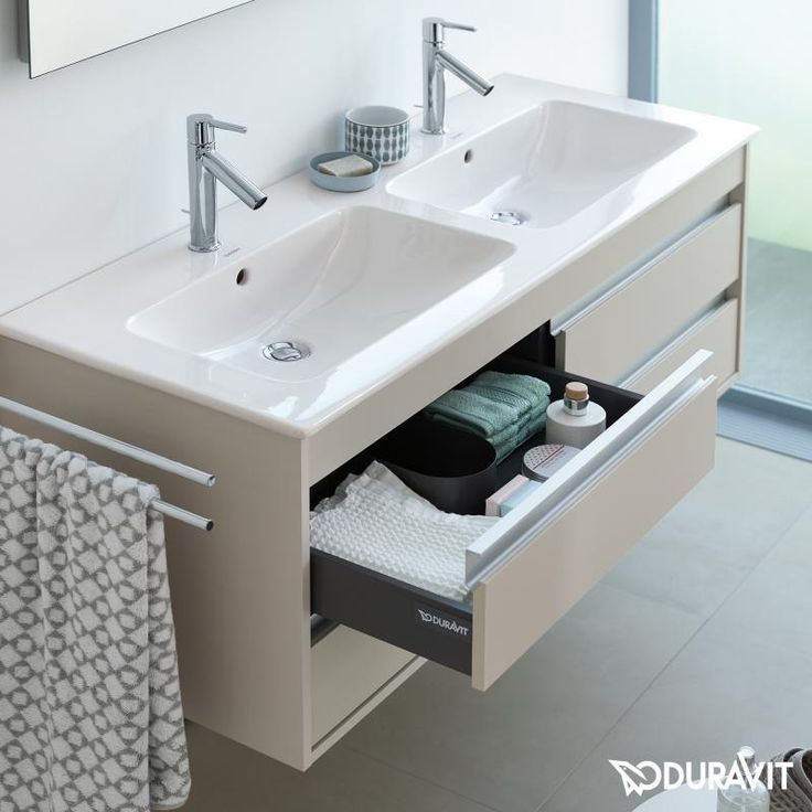 Duravit Ketho: Der wandhängende Waschtischunterschrank besticht durch Optik und Funktion. Er verfügt über 4 Auszüge. Die Schubladen schließen ged…