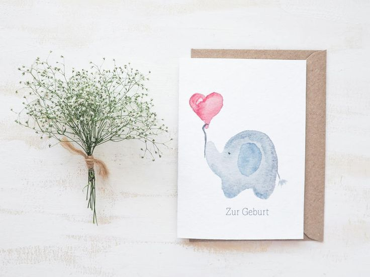 Folding Card to Give birth | Little Elephant, girl, Boy, Birth, Baby, Congratulations, Baptism, card, hand painted, greeting, print, gift, heart balloon, elephant