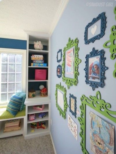 Paint cheap wooden frames to frame children's artwork