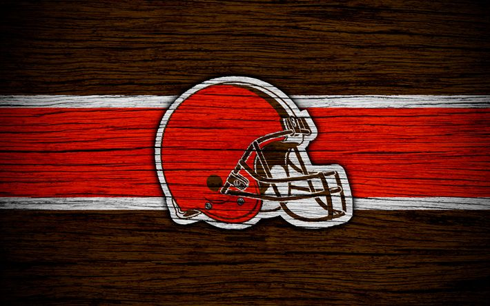 Download wallpapers Cleveland Browns, NFL, 4k, wooden texture, american football, logo, emblem, Cleveland, Ohio, USA, National Football League, American Conference