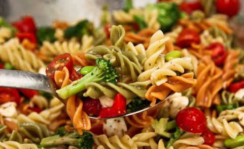 Picnic Pasta Salad~Very tasty recipe with Italian Dressing and Salad Supreme Seasoning. Just add or subtract ingredients that you like.  I like mine with pasta, red onions, cucumbers and tomatoes only.  I might try the mozzarella balls and the broccoli.