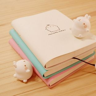 Hot Sale! High Quality Korea Stationery Lovely Rabbit Molang Diary Leather Notebook 3 Patterns Free Shipping  $13.98