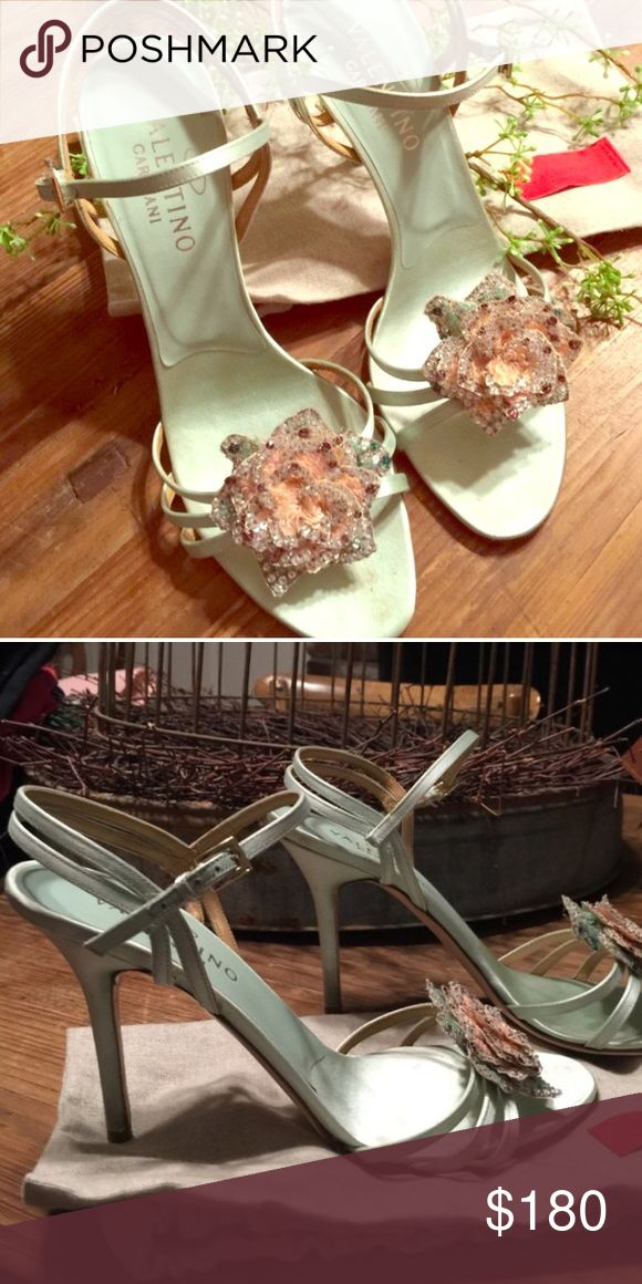 Valentino Sandals Mint green Valentino sandals for sale. I am re-posting these from a great Posher. The pics do these beauties no justice. 😢I hoped to wear these for my event, but these are too small for me. These fit a size 9-9.5 (40) more so than a size 10 (41). 😢😢😢 Valentino Shoes Sandals