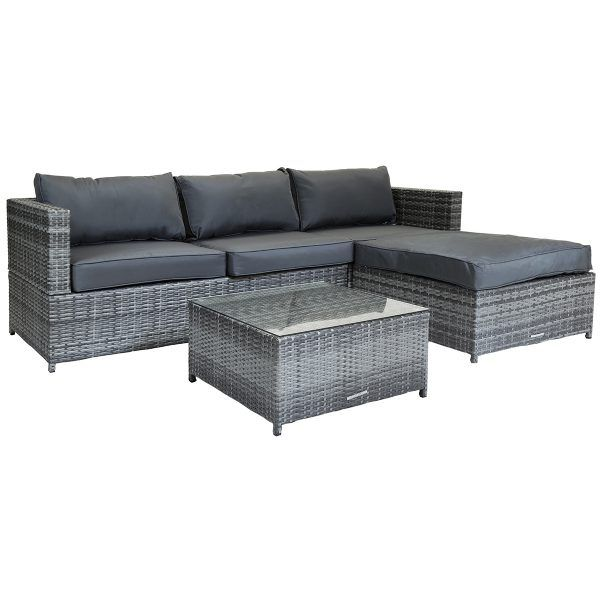 Glwfsofafs01gy Charles Bentley L Shaped Sofa Set Grey 1 Rattan Outdoor Furniture Rattan Corner Sofa Rattan Furniture